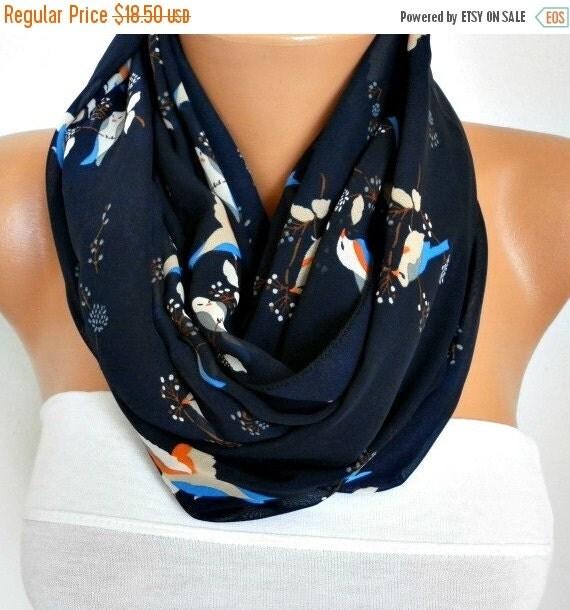 ON SALE --- Bird Scarf, Dark Blue Chiffon Infinity Scarf,Fall Scarf,  Circle, Loop Scarf Gift Ideas for her Women Fashion Accessories