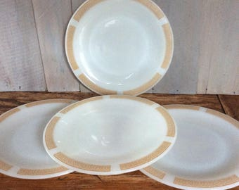 Vintage Anchor Hocking Althea Harvest Gold Dinner Plates / Place Setter Colection /Milk Glass Plates / Gold Band Dinner Plates