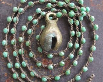 Crochet bell necklace - Jingle - rustic green turquoise vintage antique bell holiday boho by slashKnots