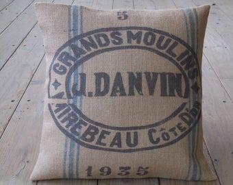 Vintage Feed sack style Burlap Pillow, feed sack logo, Primitive Americana, Rustic Farmhouse, INSERT INCLUDED