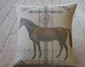 Farmhouse Burlap Horse Pillow,  17 inch square, Shabby Chic, Horses , Farmhouse Chic, INSERT INCLUDED