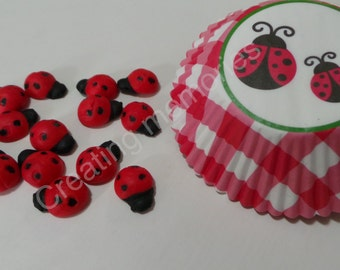 LadyBugs  RED and BLACK 24 Cupcake Topper/Cake Decorations/Cookies or Cake Pops made of Vanilla Fondant - You can Choose  the Color TOO!
