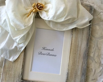 Picture Frame Bow Jewel White Flower Rustic Barn Country Beach Personalized Gift White Ivory Photo Frame with Name Wedding Decor Bling