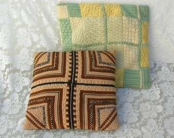 2 Handmade Decorative Pillows, green/ivory and brown/black/beige, vintage