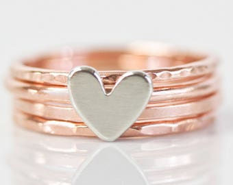 Stacking Rings / Heart / Stack Rings / Love Gift / Gift for Her / Wife Gift / Anniversary Gift / Stacking Ring Set / Silver Rose Stacking