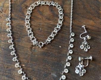 Bintage open back necklace bracelet earring set
