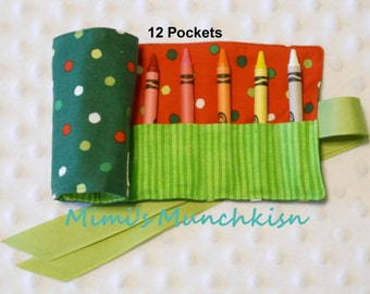 Kid's Crayon Roll Up, Dots on Dark Green, Crayon Holder, Travel Roll Up, Entertaiment for Kids, READY TO SHIP