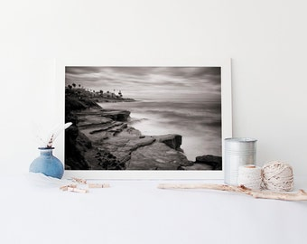 La Jolla Cliffs San Diego Art - California Black and White Beach Photography, Beach Art - Fine Art Landscape, Oversized Art Prints Available