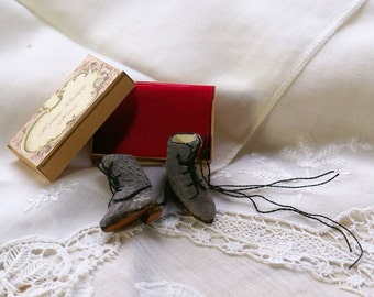 Miniature victorian boots - grey leather with black trimming