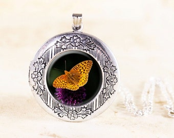 Silver Butterfly Locket - Orange Butterfly Jewelry, Nature Jewelry Gift, Garden Locket, Insect Jewelry Locket, Butterfly Photo Locket