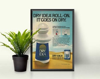Roll On Deodorant Brand Dry Idea Magazine Ads Antiperspirant Product Placement 1970s Bathroom Wall Art White and Blue Ad Deodorant Cream