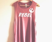 CUSTOMIZE Rebel Women's Muscle Tank by So Effing Cute - To customize text and/or shirt just message me - inspired by Star Wars