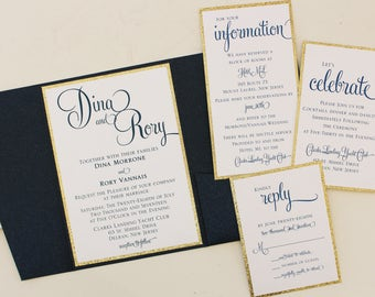 Navy and Gold Metallic Pocketfold Wedding Invitation with Monogram Fastening Label
