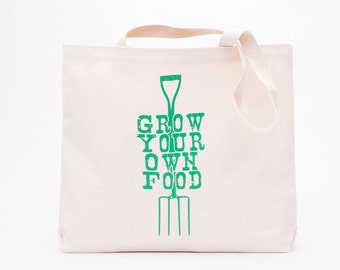 Grow Your Own Food Screen Printed Cotton Grocery Bag - Reusable Grocery Tote Bag - Canvas Tote Bag - Urban Farming