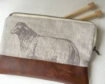 Linen and Leather Clutch, Needle Case, Sheep Print