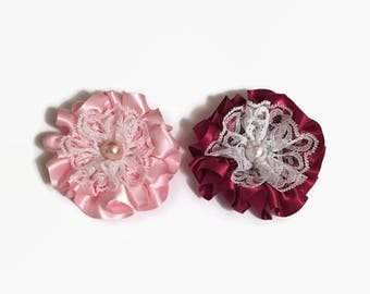 Set Of Two Satin Flowers, Satin And Lace Flowers, Supply Flowers, Handmade Flowers, Supplies, Headband Flower, Brooch Flower