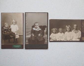 "Lot of 9 Vintage Photos, Circa 1910 // 3 Children Photos, 6 Women Photos // Olivia Wittberg, K.F.J Gardsten, Photographers...4"" X 2 1/2"""