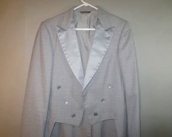 Bill Blass, Tux Jacket With Tails // Gray with Silver Satin Lapels, Double Breasted Look // Tuxedo with Tails...38XLong