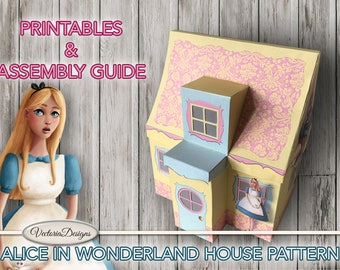 Alice in Wonderland House Printable + Tutorial Paper Crafting pattern how to DIY instant download digital download sheets - VDHOAL1632