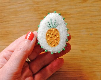 Hand Embroidered Pineapple Pin Brooch with green beads 100% Wool textile art
