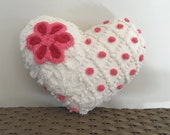 Heart pillow HOT PINK LOVE cushion, 11 x 13 vintage chenille pillow, pink heart pillow, Valentine heart cushion, Valentine pillow