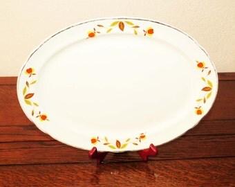 "HALL'S Jewel Tea AUTUMN LEAF Platter / Large 13 5/8""  Ceramic Mid Century Cookware Meat-Serving Platter / Great Housewarming Gft"