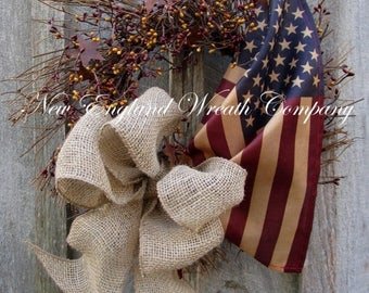 ON SALE Americana Wreath, Patriotic Wreath, Fourth of July Wreath, Memorial Day Wreath, Primitive Patriotic, Military Wreath, Tea Stained Fl
