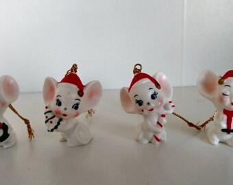 4 cute kitsch Christmas mice