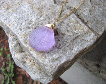"""Sea glass necklace purple beach glass clam shell pendant bead 18"""" long gold wire wrapped jewelry gold chain"""