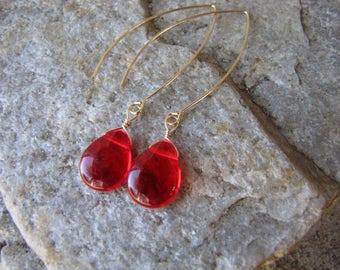 red earrings gold hoop ear wire lightweight  smooth glass tear drop bead extra long dangle jewelry