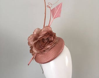 Pink Headpiece  satin loops fabric flowers arrow feather feather quills unique hat  Wedding Races Outstanding Couture