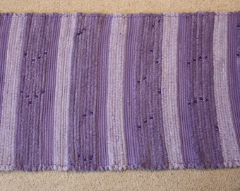 Handwoven Rag Rug: Purple, Lilac, Lavender STRIPES  - 49 inches....(#138)