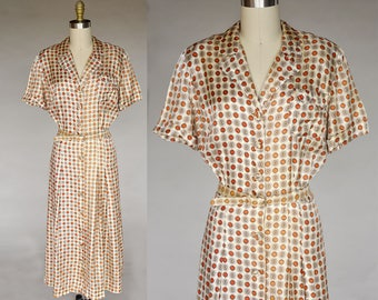 Vintage 40s Cream Dress with Orange and Brown Spots Belted Front Buttons PLUS