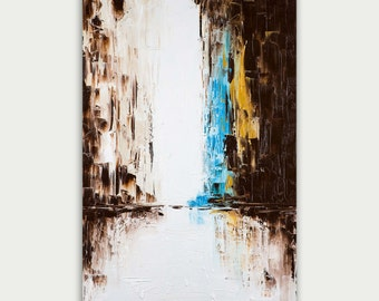 Original Colorful Abstract Art, Urban Modern Painting, Textured Painting, Home Decor, Oil On Canvas, City