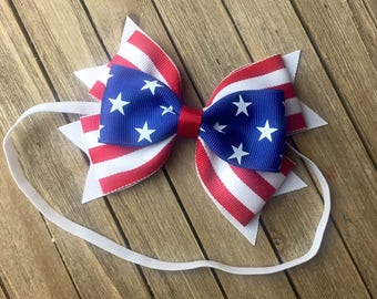 First 4th of July hair bow headband Stars and Stripes