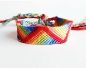 Rainbow friendship bracelet, rainbow stripes bracelet, colorful cotton bracelet (made to order)
