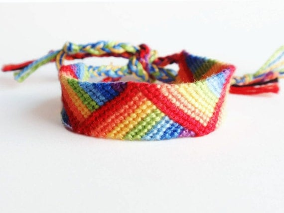 Rainbow friendship bracelet, rainbow stripes bracelet, colorful cotton bracelet (made to order)