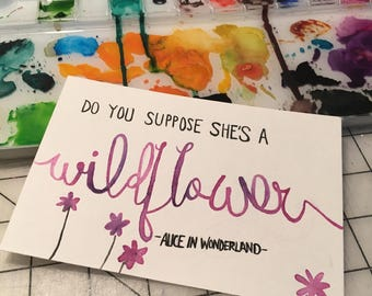 Alice and Wonderland / Postcard / 4 x 6 / Hand lettering