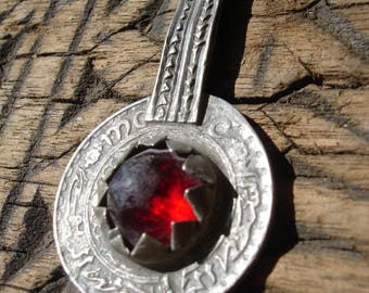 Moroccan red jewel tarnished 10 franc coin pendant with decorated loop/bail