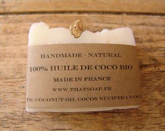 100% Coconut Oil Soap, Handmade Soap, Organic Coconut Oil Soap, Natural Soap, Unscented Soap,Vegan Soap, That Soap