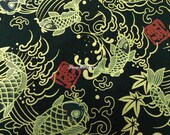 Koi fish, black, gold metallic, 1/2 yard, pure cotton fabric