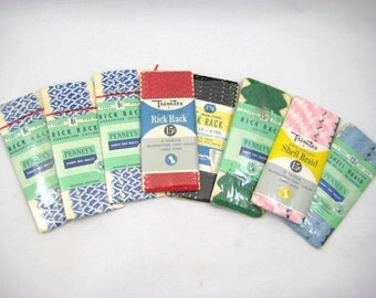 Vintage Rick Rack / Shell Braid - 8 Packages Trimtex, Pennys - Blue and White, Green Trim, Baby Rick Rack - Pink & White Shell Braid