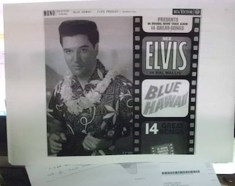 Free Shipping - Photo'd Print of a Record Sleeve - ELVIS PRESLEY - Blue Hawaii - Found In France