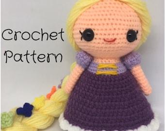 Rapunzel Doll Crochet doll Pattern - PDF Pattern, Amigurumi