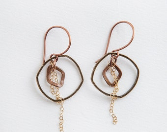 Hoop Earrings, Mixed Metal, Chain Earrings, Copper Earrings