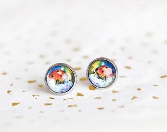Ladybug Earrings, Ladybug Studs, Lady Bug Jewelry, Purple, Red, ladybug, Cute earrings, Cute Studs, Gift for Gardener, Gift for Her