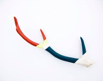 Painted Antler - LARGE - Sika - Copper, Lemonade & Teal Striped