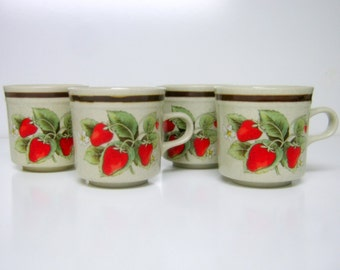 4 Vintage Strawberry Stoneware Mugs, Made In Japan