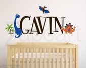 Dinosaurs Name Decal Nursery Decor, Custom Personalized Name Dinosaurs Kids Room