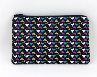 Bird Zipper Pouch, Mini Clutch, Wallet Pouch, Accessory Bag , Ouch Pouch, Padded, Gift idea, Black
